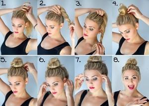 Как собрать волосы в пучок