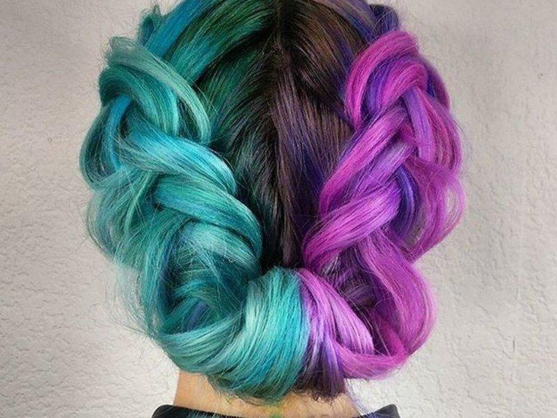 Бирюзово-лиловые волосы