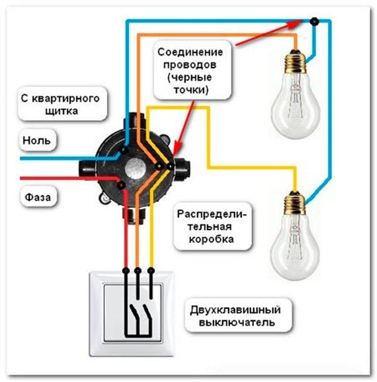 375673e55060 Схема подключения двухклавишного выключателя  как подключить розетку и  подсоединить провода